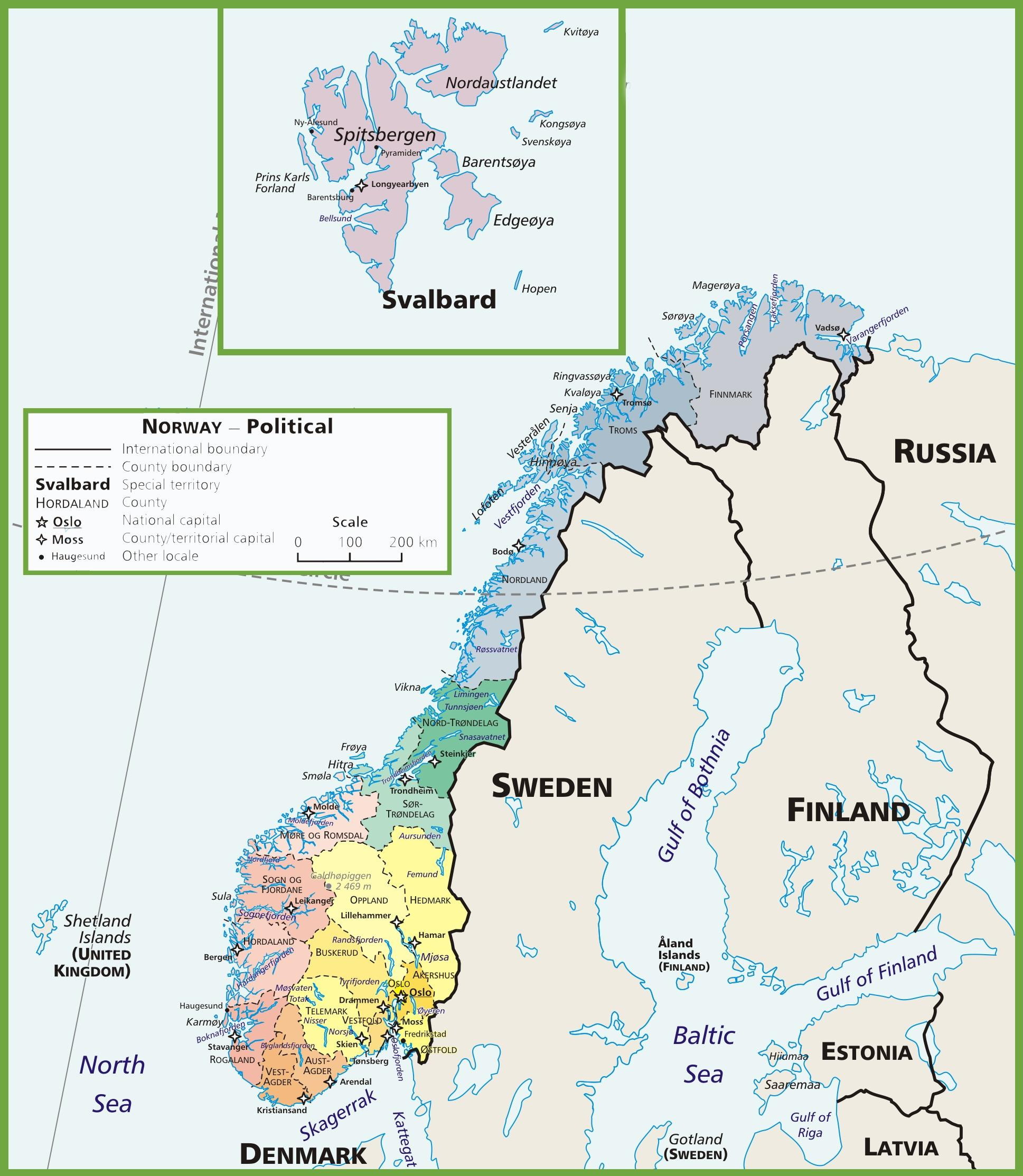 Norge Politiska Karta Karta Over Norge Politiska Norra Europa