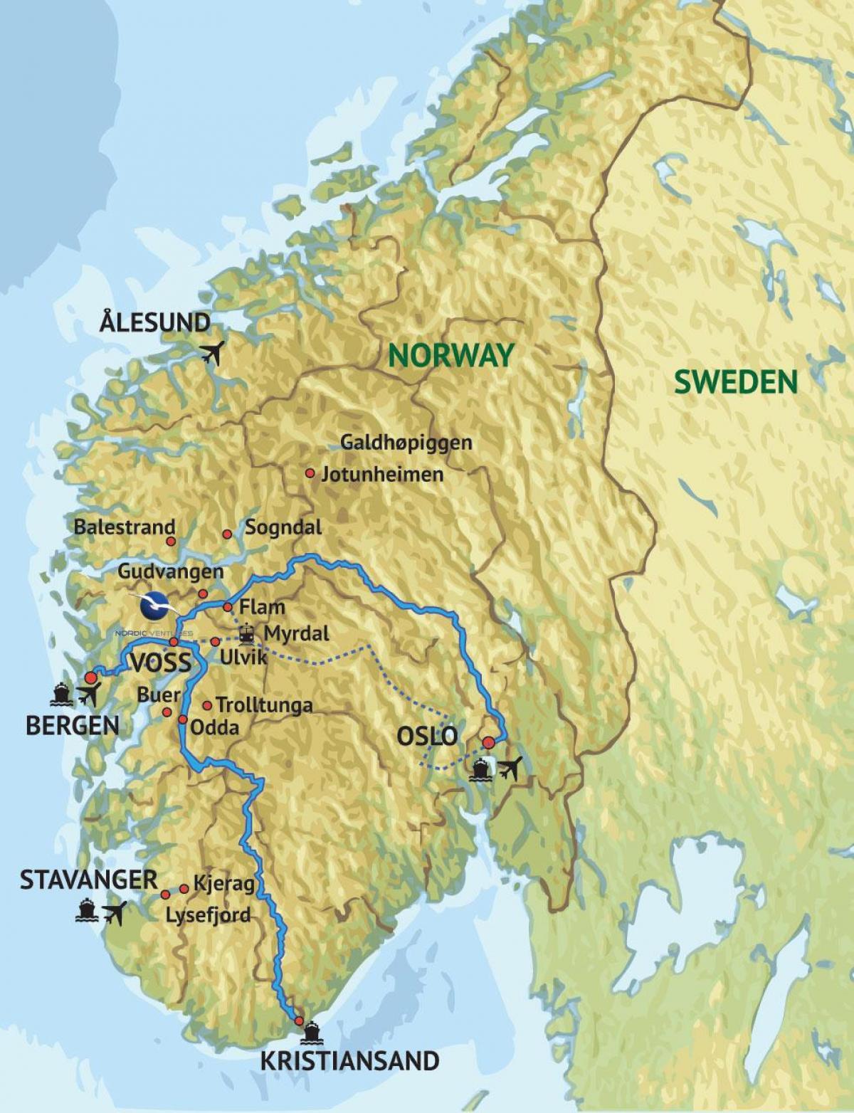 Sydvastra Norge Karta Karta Over Sydvastra Norge Norra Europa
